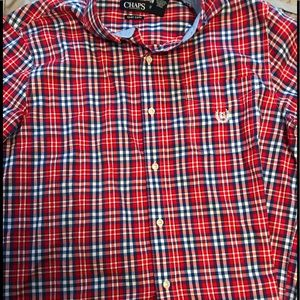 Chaps men's dress shirt red and blue